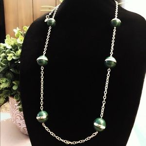 J CREW long green & gold bauble layering necklace